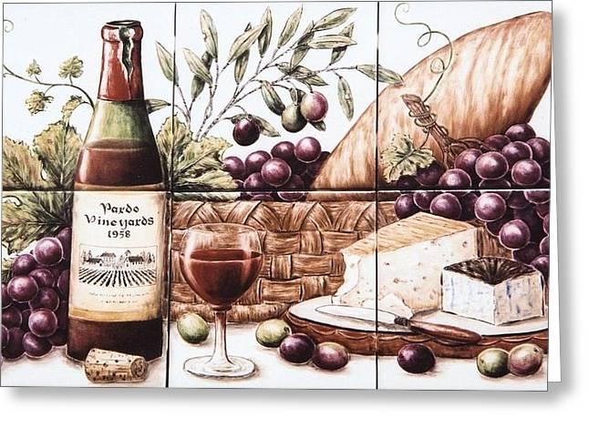 Pardo Vineyards Wine And Cheese Greeting Card by Julia Sweda