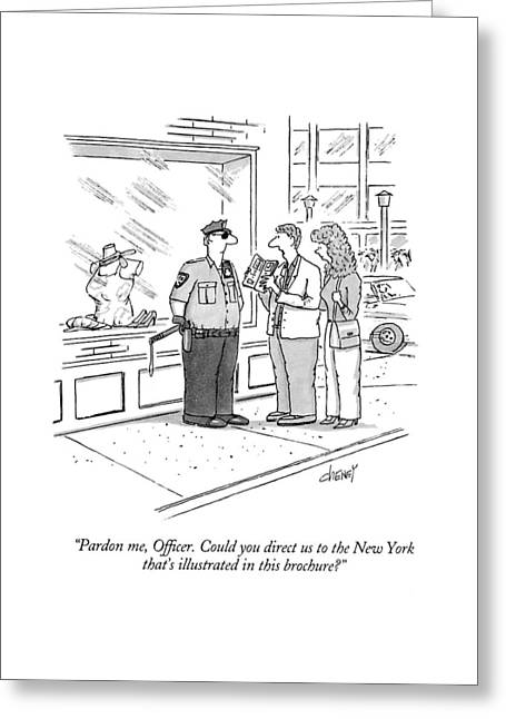 Pardon Me, Officer.  Could You Direct Greeting Card