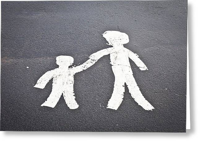 Parent And Child Marking Greeting Card by Tom Gowanlock