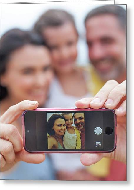 Parents Taking Family Photograph Greeting Card