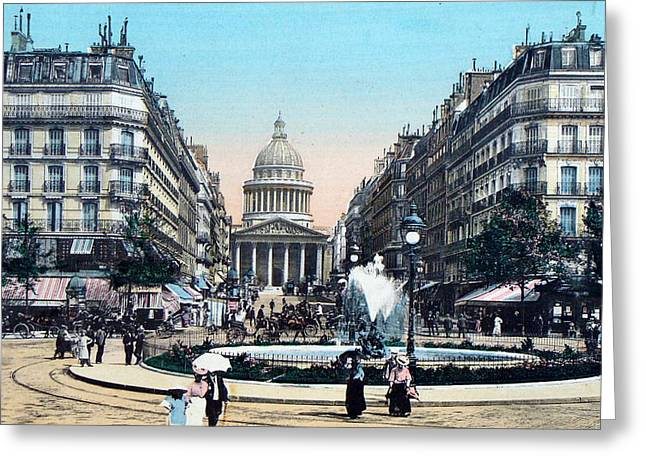 Paris 1910 Rue Soufflot And Pantheon Greeting Card