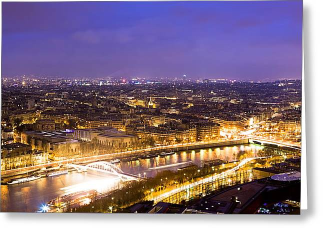 Paris And The River Seine Skyline View At Night Greeting Card by Mark E Tisdale
