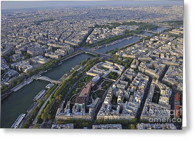 Paris And The Seine River Greeting Card by Sami Sarkis