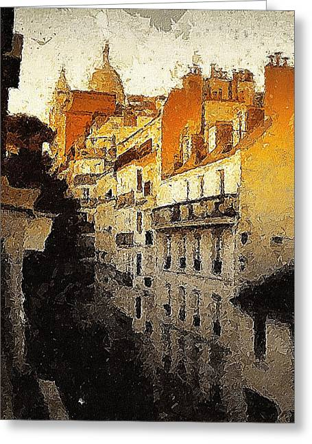Paris Apartment View Of Montmartre Greeting Card by Marshall Thomas