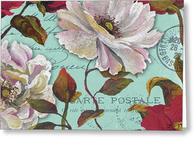 Paris Aqua Flowers II Greeting Card
