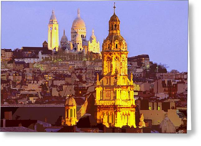 Paris At Dusk Greeting Card by Steve Huang
