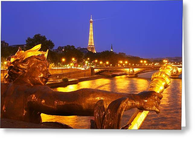 Paris At Night Greeting Card by Dan Breckwoldt
