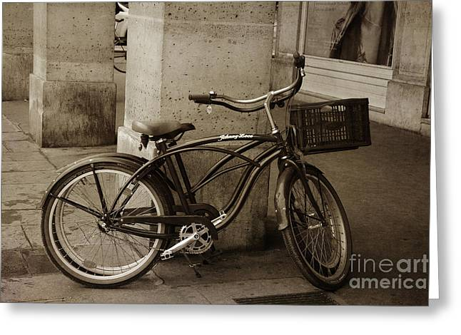 Paris Bicycle Sepia Street Photography - Paris Bicycle Street Architecture Sepia Print Greeting Card by Kathy Fornal