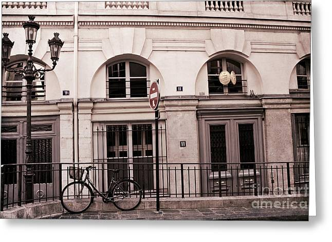 Paris Bicycle Street Lamps Architecture Buildings - Paris Bicycle Sepia Art Deco Modern Art Prints Greeting Card by Kathy Fornal