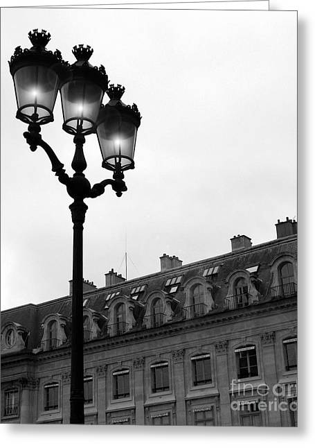 Paris Black And White Photograph - Place Vendome Lanterns Architecture Street Lamps Greeting Card by Kathy Fornal