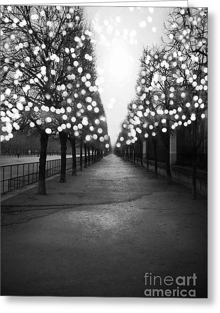 Paris Surreal Black And White Photography - Paris Tuileries Garden Fairy Lights Row Of Trees Greeting Card by Kathy Fornal