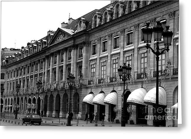 Paris Black And White Photography - Place Vendome Hotel Chaumet Architecture Street Lanterns Greeting Card by Kathy Fornal