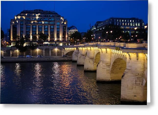 Paris Blue Hour - Pont Neuf Bridge And La Samaritaine Greeting Card by Georgia Mizuleva