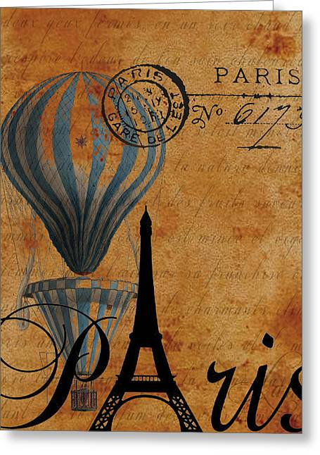 Paris By Postcard Greeting Card by Greg Sharpe