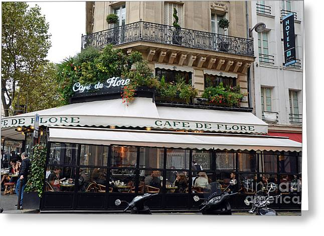 Paris Cafe De Flore - Paris Fine Art Cafe De Flore - Paris Famous Cafes And Street Cafe Scenes Greeting Card by Kathy Fornal