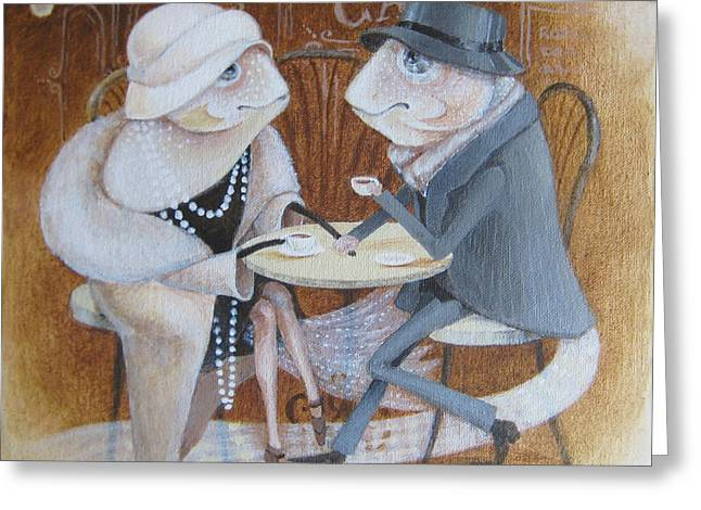 Greeting Card featuring the painting Paris Cafe by Marina Gnetetsky