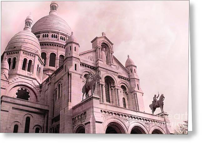 Paris Cathedral Sacre Coeur - Montmartre District Greeting Card by Kathy Fornal