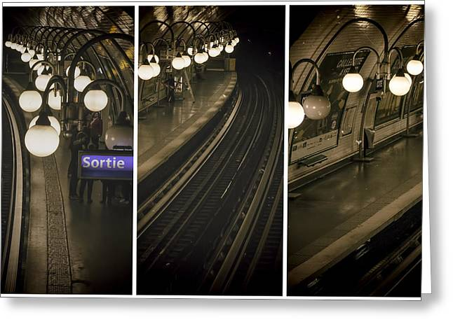 Paris Cite Underground - Three Greeting Card by Georgia Fowler