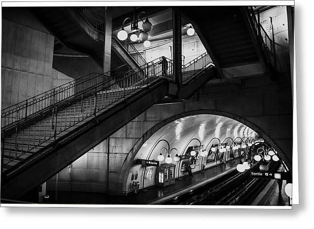 Paris Cite Underground - Two Greeting Card by Georgia Fowler