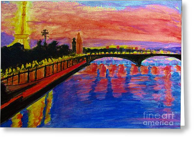 Paris City Of Lights At Dusk Greeting Card