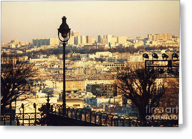 Paris Cityscape Sunset Panoramic View - Paris At Sunset Dusk - Paris City Of Light Aerial View Photo Greeting Card by Kathy Fornal