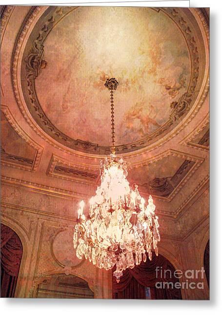 Paris Crystal Chandelier - Paris Hotel Regina Art Deco Sparkling Chandelier Opulence Illumination Greeting Card