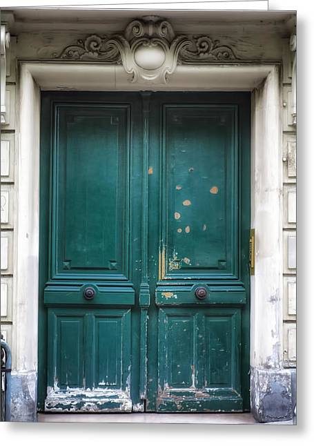 Paris Door - Teal Greeting Card