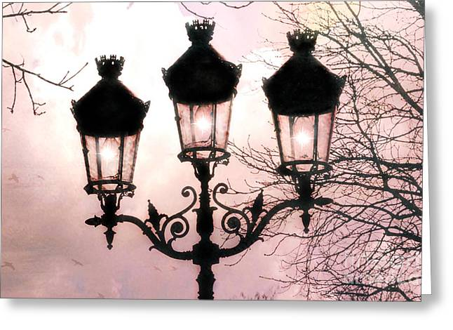 Paris Dreamy Baby Pink Street Lamps - Paris Pastel Shabby Chic Pink Street Lanterns Fine Art Photos Greeting Card by Kathy Fornal