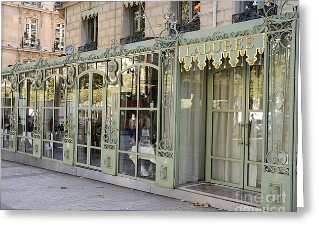 Paris Dreamy Laduree Patisserie And Tea Shop - Paris Laduree Doors And Architecture Fine Art Greeting Card by Kathy Fornal