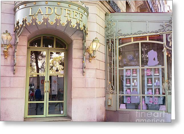 Paris Laduree Patisserie And Tea Shop - Paris Laduree Macaron Tea Shop Decor Prints Greeting Card by Kathy Fornal