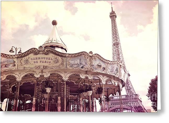 Paris Dreamy Pink Yellow Carousel Eiffel Tower Champs Des Mars - Paris Carrousel De Paris  Greeting Card