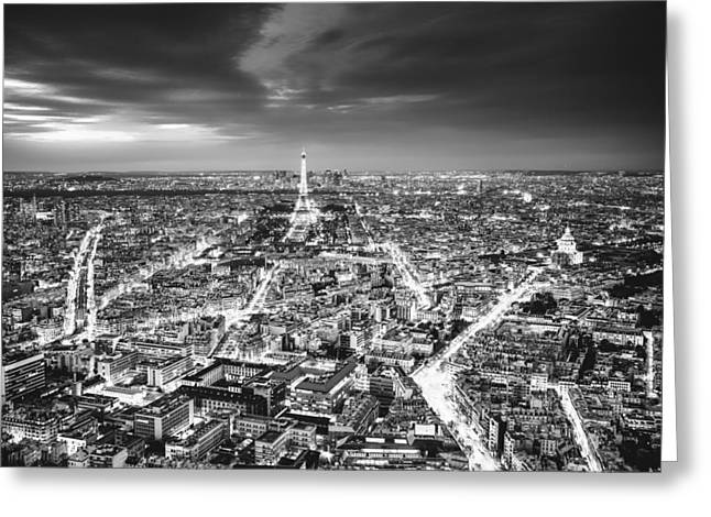 Paris - Eiffel Tower And City At Night Greeting Card