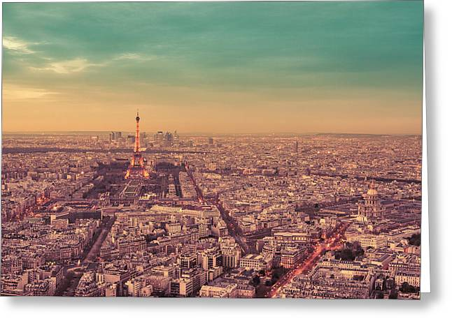 Paris - Eiffel Tower And Cityscape At Sunset Greeting Card