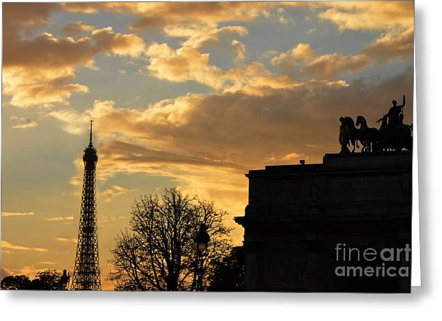 Paris Eiffel Tower Autumn Fall Sunset Clouds Cityscape - Eiffel Tower Autumn Sunset Architecture Greeting Card by Kathy Fornal