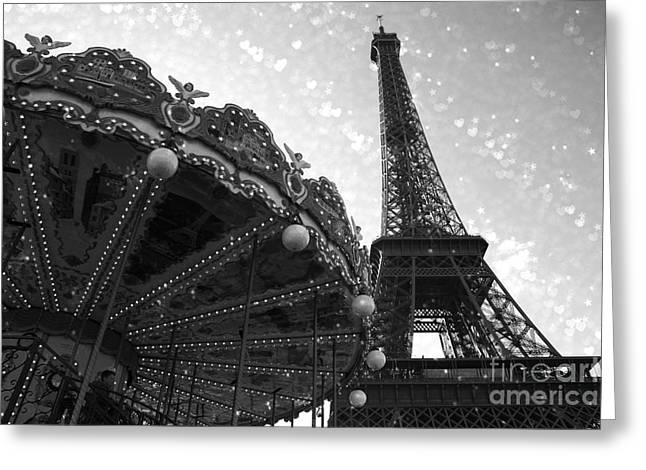 Paris Eiffel Tower Carousel Black White Surreal Photo - Eiffel Tower Black White Stars And Hearts Greeting Card by Kathy Fornal
