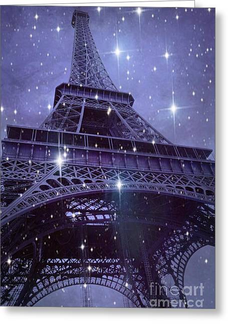 Paris Eiffel Tower Starry Night Photos - Eiffel Tower With Stars Celestial Fantasy Sparkling Lights  Greeting Card by Kathy Fornal