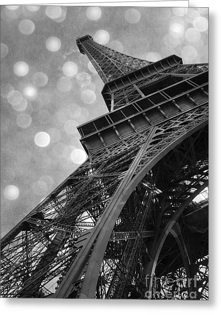 Paris Eiffel Tower Surreal Black And White Photography - Eiffel Tower Abstract Architecture Greeting Card by Kathy Fornal