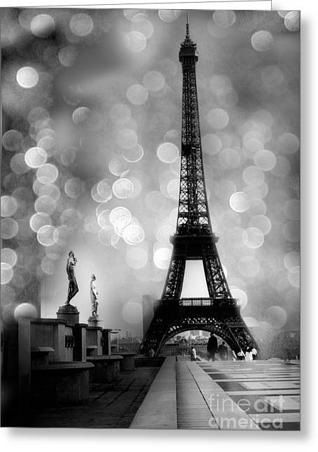 Paris Eiffel Tower Surreal Black And White Photography - Eiffel Tower Bokeh Surreal Fantasy Night  Greeting Card by Kathy Fornal