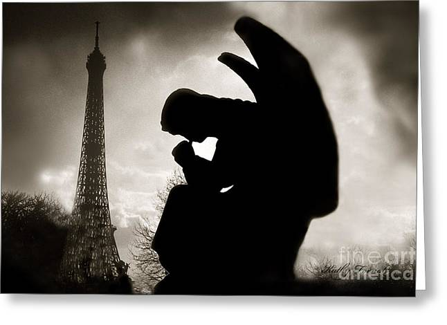 Paris - Eiffel Tower With Angel - Paris Angel At Eiffel Tower  Greeting Card by Kathy Fornal