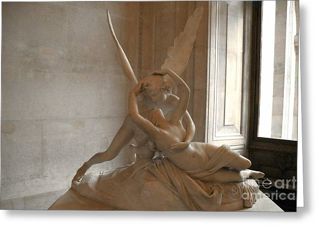 Paris Eros Psyche Sculpture - Eros And Psyche Romantic Lovers Monument At Louvre Greeting Card by Kathy Fornal
