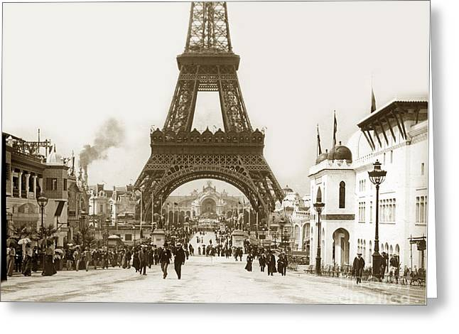 Greeting Card featuring the photograph Paris Exposition Eiffel Tower Paris France 1900  Historical Photos by California Views Mr Pat Hathaway Archives