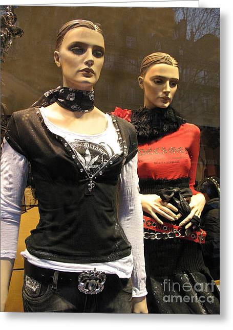 Paris Female Fashion Mannequin Window Art Greeting Card by Kathy Fornal