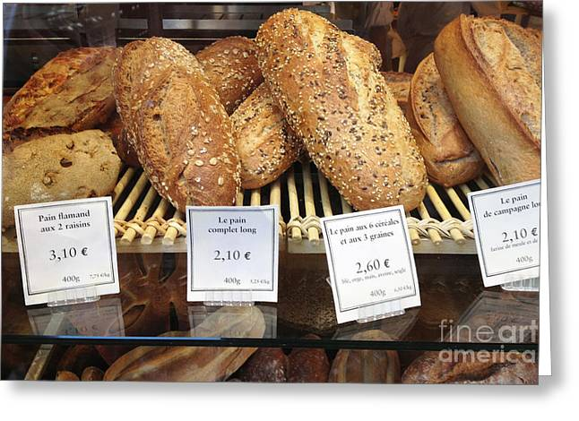 Paris Food Photography - Paris Au Pain Bakery Patisserie - French Bread Greeting Card by Kathy Fornal