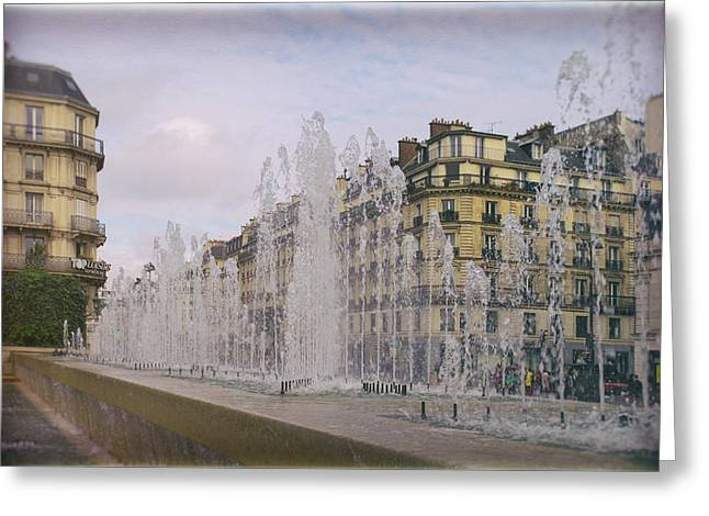 Paris Fountain Greeting Card by Georgia Fowler