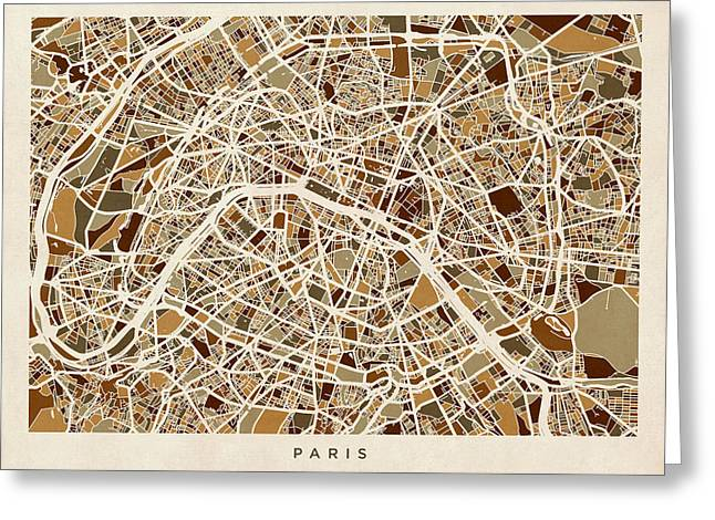 Paris France Street Map Greeting Card