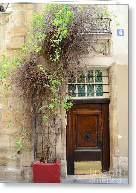 Paris Gardens Door Photography - Paris Door No. 4 - Paris Street Photography Greeting Card by Kathy Fornal