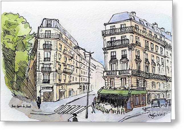 Paris Gare Du Nord Greeting Card by Marie Minyoung Jeon