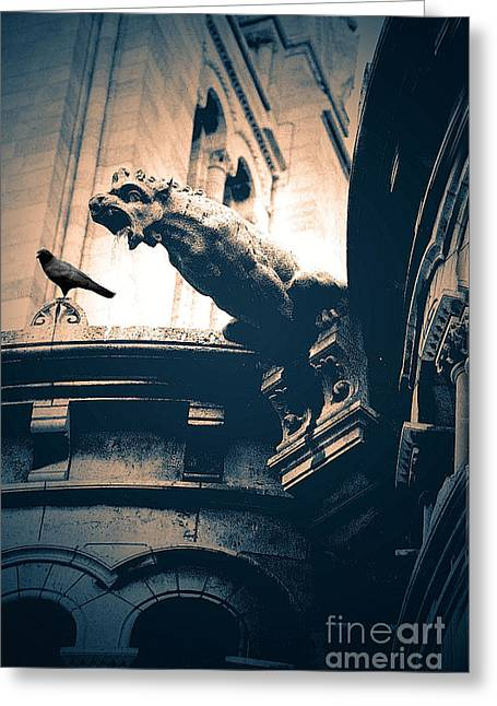 Paris Gargoyles - Gothic Paris Gargoyle With Raven - Sacre Coeur Cathedral - Montmartre Greeting Card by Kathy Fornal