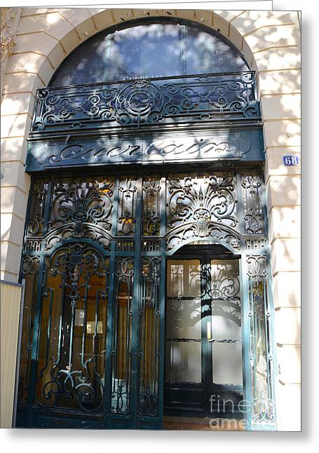 Paris Guerlain Storefront Boutique - Paris Guerlain Blue Door Art Nouveau Art Deco Door Greeting Card by Kathy Fornal