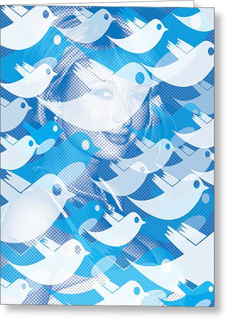 Paris Hilton Twitter Greeting Card by Tony Rubino